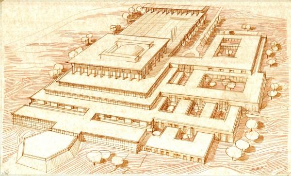 נחום מלצר יצחק אפריל אדריכלים - הרחבת הכנסת סקיצה איזומטרית