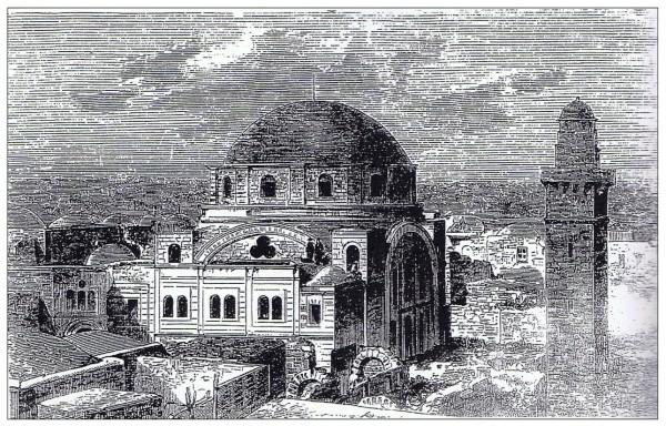 תחריט מהמאה ה-19. תחריט זה שקרוב לודאי נעשה על סמך צילום, הוא העדות היחידה  לצורתה של חזית מערב. ניתן לראות את צמדי החלונות של עזרת הנשים שמעל הפלוש.