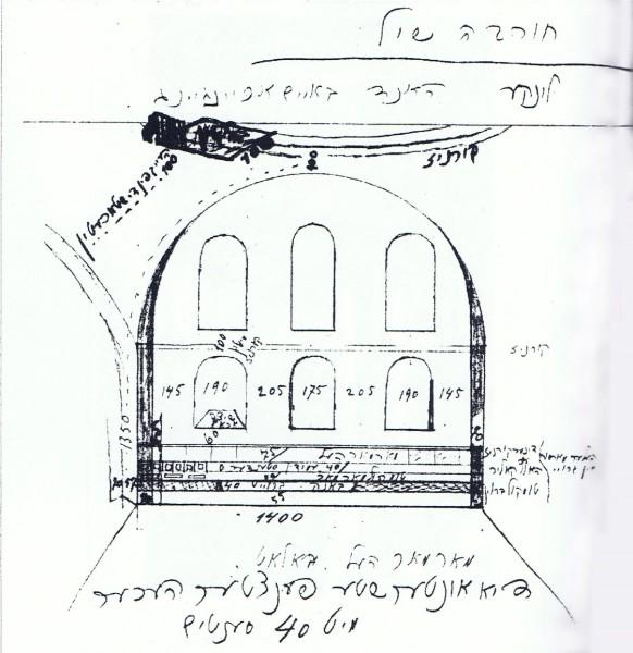 תרשים שערך מ. רוזין לקיר פנימי של בית הכנסת תוך ציון מידותיו