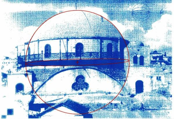 בדיקת מבנה הכיפה במבט ממזרח דרומה: ניתן לחסום את צללית הכיפה במעגל מדויק