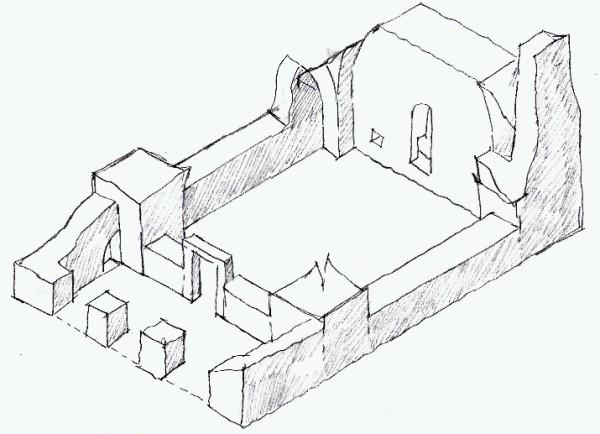תרשים אקסונומטרי של שרידי המבנה
