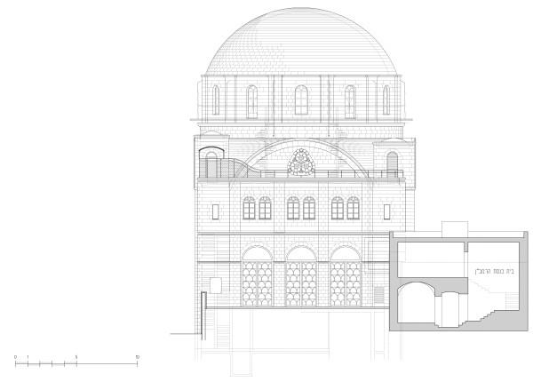 חזית מערב של בית הכנסת. הגישה לשערי הכניסה הנרחבים בחזית המבנה, היא דרך מבואה צרה ורחבה קטנה