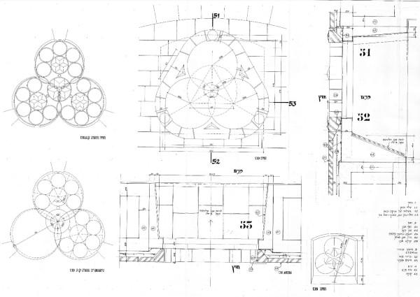 פרטי בניה של חלון תלתן בחזית מזרח ובחזית מערב.