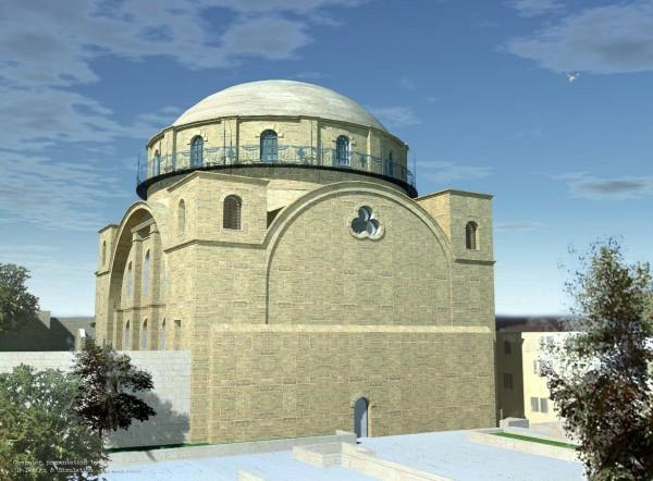 מראה בית הכנסת ממזרח – הדמיה אדר' דניאל ורניק