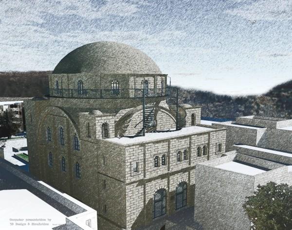 מראה בית הכנסת מצפון מערב – הדמיה אדר' דניאל ורניק