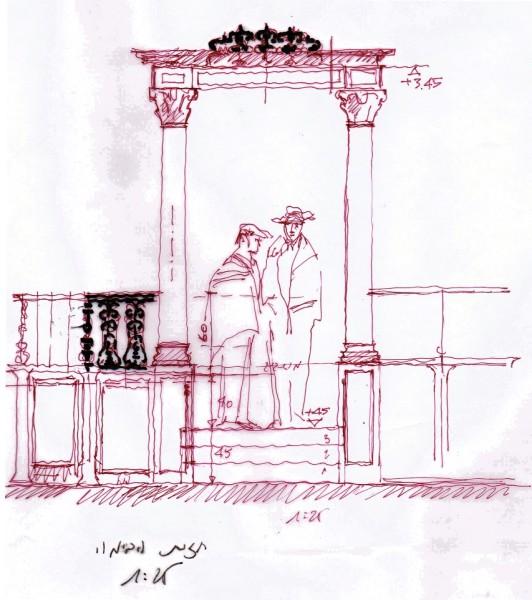 תרשים המשחזר את צורת הבימה המקורית וממדיה.