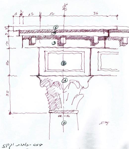 תרשים המשחזר כותרת וכרכוב של הבימה המקורית.