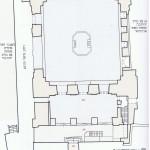 מדידת שרידי בית הכנסת וסימון תקופותיהם. על פי הסקר של רשות העתיקות.
